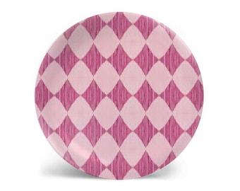 Melamine plate, dinner plate, decorative plate, pink diamond pattern, salad plate, dessert plate, dinnerware, 8 inch plate, 10 inch plate