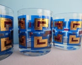Vintage Berta Rocks Glasses - Royal Blue 22 Kt Gold - Barware - Signed by Artist