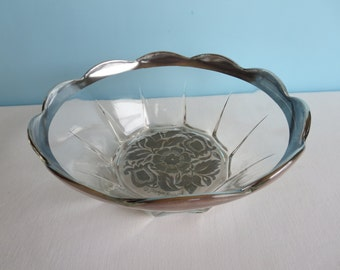 Georges Briard Silver Rimmed Bowl - Silver Damask Pattern