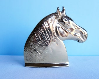 Vintage Brass Horse Bookend
