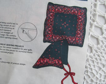 Daisy Kingdom Fabric Panel Bandana Squares Napkin Scarf Pillow Cut and Sew Handkerchief Quilt