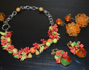 Vintage plastic jewelry - necklace and 2 pair of earrings - early plastic fruit - costume