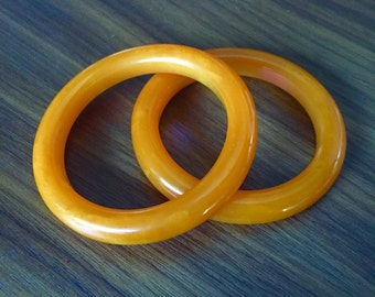 PAIR of Vintage Butterscotch Bakelite Bracelets FREE SHIPPING!