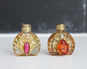 Antique Perfume Bottles   Small Vintage Perfume Bottles   Pair of Perfume Bottles   Tiny Jeweled Perfume Bottles with Brass Tops