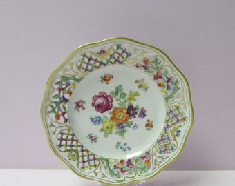 """Schumann """"Chateau"""" Porcelain Plate with Scalloped Reticulated, Pierced Wide Rim #2"""