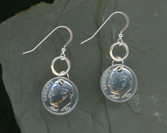 1966 Dime Silver Earrings 50th Birthday Gift 50th Anniversary Gift Coin Jewelry 1966 Dimes