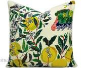 Schumacher Pillow Cover - Citrus Garden - Josef Frank - 20X20 - throw pillow - toss pillow - floral pillow - linen - made to order