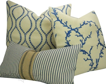 Blue and white Pillow Covers: Set of THREE- blue and white - mix and match - euro sham - lumbar - ready to ship