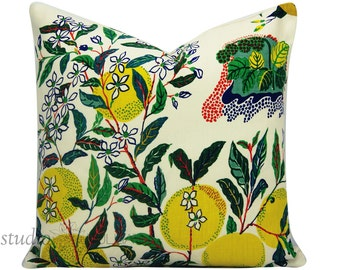 Schumacher Pillow Cover - Citrus Garden - Josef Frank - 20X20 - throw pillow - toss pillow - floral pillow - linen - made to order