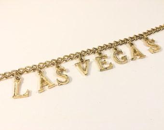 Las Vegas Charm Bracelet, Vintage Jewelry, Vintage Bracelet, Gold Tone Retro Bracelet, Fun Gift for Bride, Mad Men Style Souvenir Bracelet
