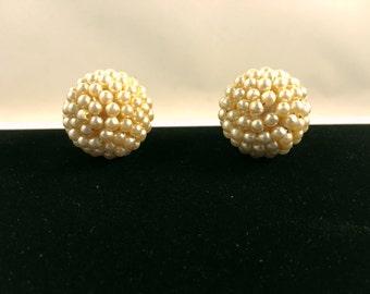 Hattie Carnegie Earrings, Vintage Jewelry, Faux Pearl Earrings, Hollywood Regency, Signed Hattie Carnegie, Elegant Clip On Earrings Clip Ons