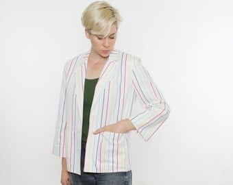 Vintage 80's unstructured blazer, white with primary stripes, pin stripes, light shoulder pads, front pockets, no closure - Medium