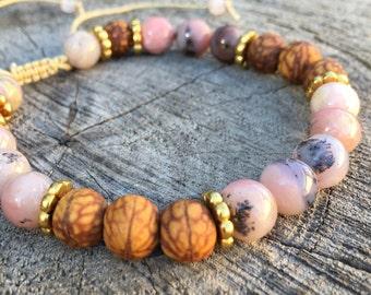 KARMA- Pink Opal and Bodhi Seed Wrist Mala Bracelet.