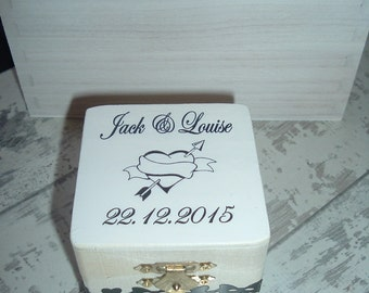 Ring Bearer wedding ring box engagement personalized wooden box gift