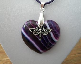 Purple Agate Heart Pendant Necklace