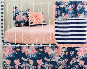 coral and navy baby girl bedding stripe and floral chic coral and navy nursery