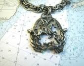 Massive St George & the Dragon Necklace Pendant 3-D 1960s Silver Gray