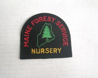 1960s Maine Forest Service Shoulder Patch Tree Nursery Embroidered Black Red Green Yellow