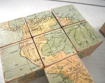 1927 Geographic Educator Corp. Bloc-O-Graphy Map Blocks 3-D Incomplete