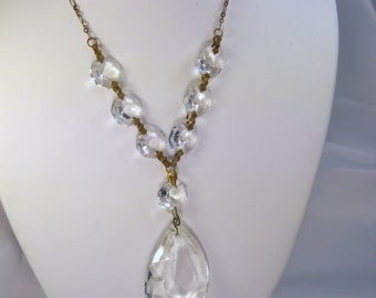 Exquisite chandelier crystal necklace with antiqued brass chain