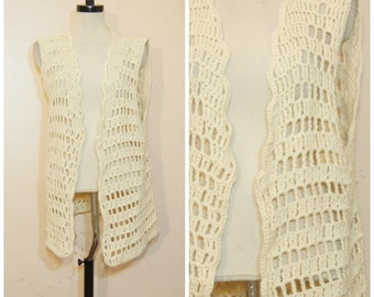 70s Beige Crochet Vest  Sweater Duster Medium Oversized Boho Hippie