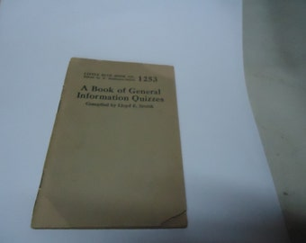 Vintage 1927 Little Blue Book No. 1253 A Book Of General Information Quizzes by Lloyd Smith, collectable