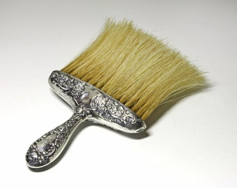 Vintage Victorian Sterling Silver Hat Brush, Sterling Silver Repousse Brush - circa 1910