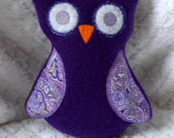 Handmade Stuffed Purple Fleece Owl - plush
