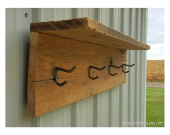 Reclaimed Barn Wood Shelf Coat Rack, Rustic Coat Rack, Farmhouse Wall Shelf with Coat Hooks, Country Chic Coat Rack Shelf, Coat Hanger Shelf