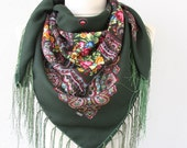 Dark green Russian scarf Ukrainian shawl Russian shawl Ukrainian scarf floral scarf fringe scarf fall fashion trends christmas gift for her