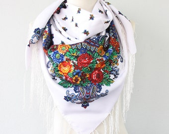 Russian shawl , Ukrainian scarf , soviet scarf ukrainian shawl fringe  scarf white winter scarf for women christmas gift for her under 20