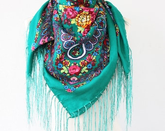 Jade green Russian scarf ukrainian shawl fall scarf russian shawl fringe scarf soviet scarf  fall scarf winter accessories gift for her