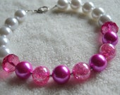Hot Pink and White Pearl Beaded Necklace Girls Photo Prop Bubble Gum Necklace
