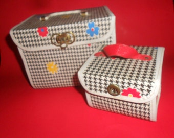 60s MOD Cosmetic Cases Mid Century Rare & Vintage Houndstooth Case Set -Collectors 2 ps Retro Luggage Set
