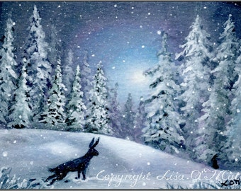 "ACEO Print ""Edge of the Winter Forest"" , Hare."