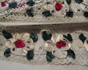 Two Bolts of Flowered Vintage Style Lace Trim...Ivory Red and Green...10.5 Yards...3 Inches Wide