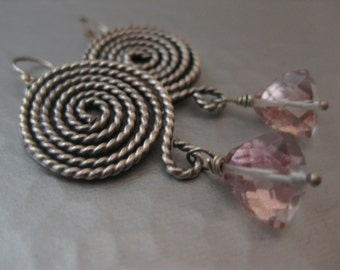 Sterling Silver Spiral Earrings with pink quartz triangle Beads