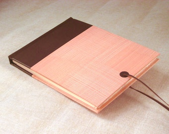 Leather Journal Sketchbook with Brown Spine and Handmade Pastepaper