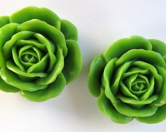 2PCS - 38mm Large Pea Green Rose Cabochons - Matte - Resin Cabochons - Jewelry Supplies by Zardenia - Ships from US