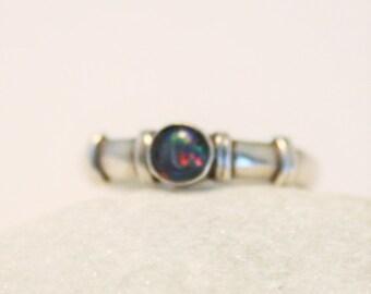 Vintage opal triplet ring.  Sterling silver ring.  UK size L 1/2.  US size 6