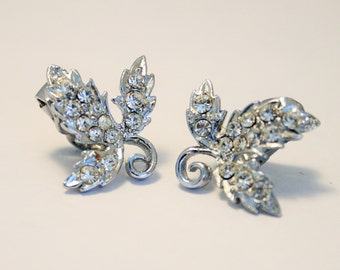 Vintage crystal leaf earrings.  Clip on earrings