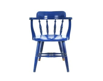 vintage blue wooden windsor captains chair