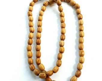 Men's large wood bead necklace- extra long version-The Waseyu no 22