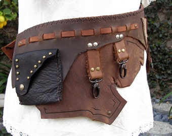 "SALE SALE SALE Rustic Leather Steampunk Hip or Waist Belt Ready to Ship 37"" Measurement"