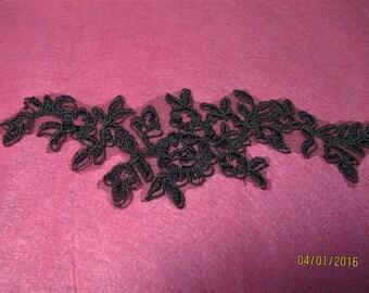 Dark coffee brown lace applique