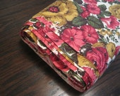 "Vintage Floral Home Decor Fabric in Wine Reds Gold Yellows & Green-10 Yds 45"" Wd Lightweight Linen Like Fabric-Estate Fabric-New old Stock"