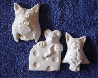 Price includes Shipping You Paint it Cat, Mouse, Dog Flats/Ornaments Ceramics Poured by CrazyOldLadyJC