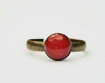 Coral Red Ring Red Stone Ring Red Gemstone Ring Red Ring Red Coral Gemstone Ring