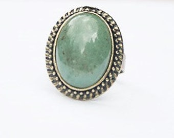 Green Ring Green Aventurine Gemstone Ring Green Stone Ring Green Oval Ring Green Gemstone Ring