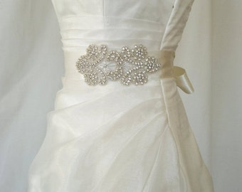 Elegant Sultan Rhinestone Beaded Wedding Dress Sash Belt